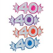 "Assorted Mini Glittered Foil ""40"" Cutouts"