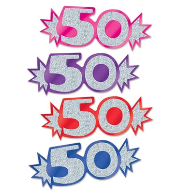 "Assorted Mini Glittered Foil ""50"" Cutouts (8/Pkg)"