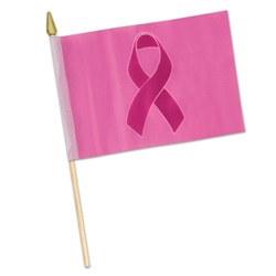 Pink Ribbon Rayon Flag (4 in x 6 in)