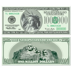 1,000,000 Dollar Bill Cutout