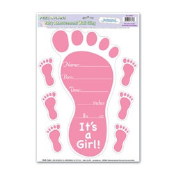 Pink Birth Announcement Peel N Place (7/sheet)