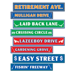 Retirement Street Sign Cutouts (4/pkg)
