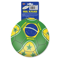 Brasil Soccer Ball Peel 'N Place (1/Sheet)