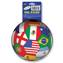 International Soccer Ball Peel 'N Place (1/Sheet)