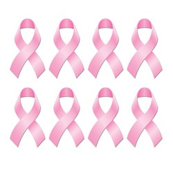 Mini Foil Pink Ribbon Cutouts (8/pkg)