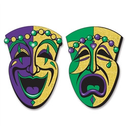 Jumbo Glittered Comedy & Tragedy Faces (2/Pkg)