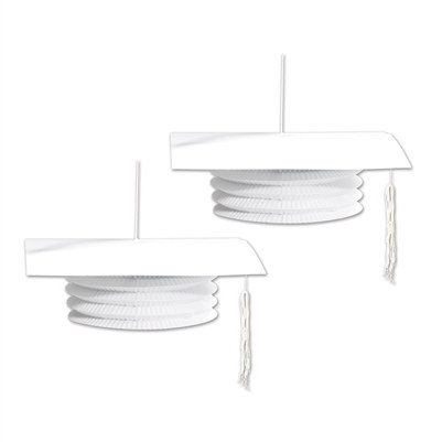 White Graduation Cap Paper Lanterns (2 Per Package)