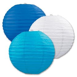 Blue, White, and Turquoise, Paper Lanterns (3/Pkg)