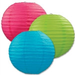 Cerise, Light Green, and Turquoise Paper Lanterns (3/Pkg)