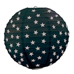 Black Paper Lanterns with Printed Silver Stars (3/Pkg)