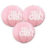 It's A Girl Paper Lanterns (3/Pkg)
