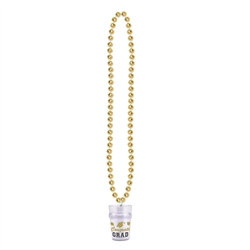 Gold Beads with Graduation Class Medallion (1/pkg)