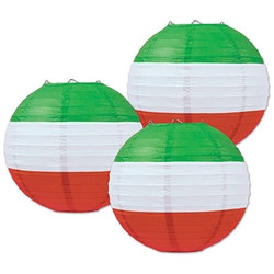 Red, White & Green Paper Lanterns