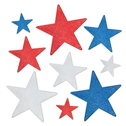 The Glittered Foil Star Cutouts are made of cardstock and printed on two sides, one side glittered. They're red, silver, and blue with a shimmery finish. 3 measure 5 inches, 3 measure 9 inches, and 3 measure 12 inches. Contains nine (9) per package.