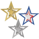 These multi-dimensional 3-D Foil Hanging Stars are available in gold, silver or a multicolor of red, silver and blue.  Each star measures 12 inches in diameter and you will receive two hanging stars per package.