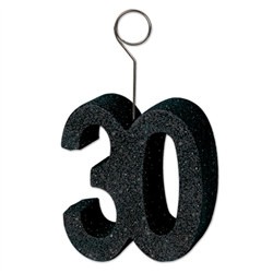 "Black Glittered ""30"" Photo/Balloon Holder (6/Pkg)"