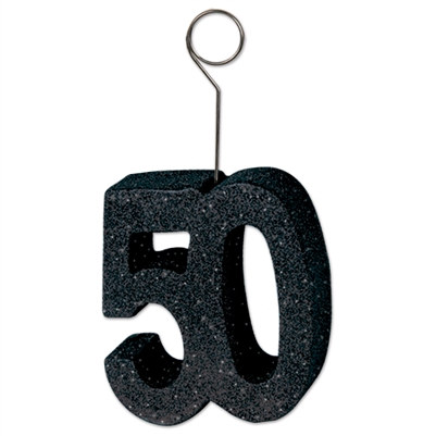 "Black Glittered ""50"" Photo/Balloon Holder (6/Pkg)"