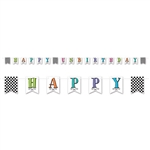 "Our Happy Un-Birthday Pennant Banner measures 12 feet in length and there a total of 18 cards, with each measuring four inches by six inches. The cards spell out ""Happy Unbirthday"" and there are three cards with a black and white checkered design."
