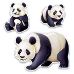 The Panda Cutouts are made of cardstock and printed on two sides. They range in measurement from 11 ¼ inches to 25 ¼ inches. Contains 3 pieces per package.