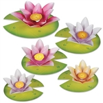 The Water Lily Paper Flowers are made of colorful cardstock. Sizes range from 7 1/2 inches to 10 3/4 inches. Contains (5) per package. Assembly required.