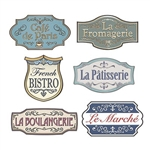 The French Shop Sign Cutouts are made of cardstock and printed on two sides. Sizes range in measurement from 12 1/4 inches to 17 1/4 inches. Contains six (6) pieces per package.