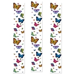 The Butterfly Party Panels is printed on clear plastic with an assortment of colorful and different sized butterflies. Measures 12 inches wide and 6 feet long. Contains 3 panels per package.
