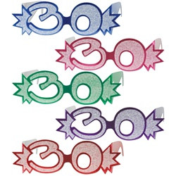 "Assorted ""30"" Glittered Foil Eyeglasses (1/pkg)"