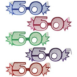 "Assorted ""50"" Glittered Foil Eyeglasses (1/pkg)"