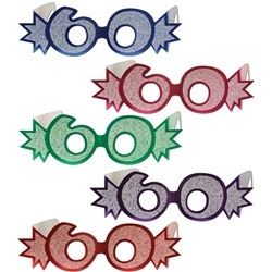 "Assorted ""60"" Glittered Foil Eyeglasses (1/pkg)"