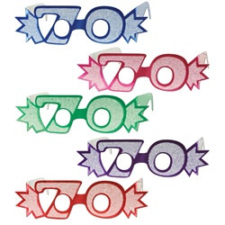 "Assorted ""70"" Glittered Foil Eyeglasses (1/pkg)"