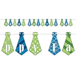 The Happy Father's Day Streamer is made of alternating blue and green cardstock neckties with different designs. Each streamer measures 6 3/4 inches tall and 9 feet long. Sold one streamer per package. Simple assembly required.