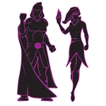 The Villain Silhouettes are made of cardstock and are black with a purple outline. Each package contains one male and one female silhouette. The male measures 36 inches tall and the female measures 34 inches tall. Two (2) per package.
