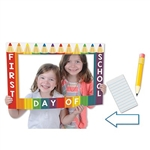 The School Days Photo Fun Frame is made of cardstock and printed on two sides with different designs. One side has crayons and reads first day of school and the other side resembles a blackboard and reads 100th day. Each package includes 3 hand held props
