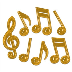 Gold Plastic Musical Notes (7/pkg)