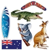 The Australian Cutouts are made of cardstock and printed on two sides. Sizes range in measurement from 12 1/4 inches to 19 3/4 inches. Includes a kangaroo with a joey, boomerang, surfboard, koala, Australian flag, and a crocodile. Contains 6 per package.