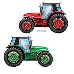 The Tractor Cutout is made of cardstock and printed on two sides with different colors. One side is green and the other side is red. It measures 36 inches tall and 23 inches wide. Contains one (1) per package.