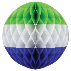 Light Green, White, Medium Blue Art-Tissue Ball