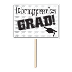 Black Congrats Grad Yard Sign