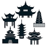 The Pagoda Silhouettes are towers with many tiers and represent temples or sacred buildings in Asian cultures. They are made of cardstock and sizes range in measurement from 11 inches to 14.5 inches. Contains 6 pieces per package.