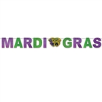 The Mardi Gras Streamer is made of cardstock with a glitter film finish. Mardi Gras is spelled out in alternating green and purple letters with a tragedy and comedy face cutout. Measures 5 3/4 inches tall and 8 feet long. 1 per pack. Assembly required