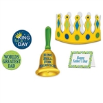 The Father's Day King For A Day Kit includes 1 frame (5 in by 3 1/2 in), 1 crown (4 in; adjustable), 1 bell cutout (9 in), and 2 circle cutouts (2 in). Made of cardstock. Each package contains (5) pieces.