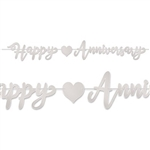 The Foil Happy Anniversary Streamer - Silver has silver script lettering with a heart icon. Its made of foil coated cardstock and printed on two sides. Measures 7 1/2 inches tall and 6 feet long. One (1) streamer per package. Simple assembly required.