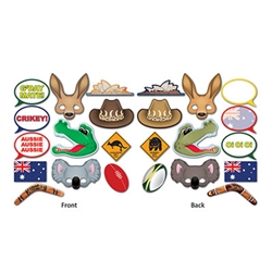 G'Day Mate! Our Australian Photo Fun Signs will make for some memorable photos! The package comes with 12 printed card stock pieces ranging from as small as 6.5 inches to as large as 11 inches.