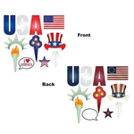 The Patriotic Photo Fun Signs are colorfully printed on cardstock and range in measurement from 5.25 inches to 12.25 inches. They are printed on two sides with different designs. Contains 11 pieces per package