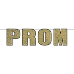 The Prom Streamer is made of cardstock and measures 14 1/4 inches tall and 6 feet long. It's gold with a black outline. Simple assembly required. Contains one (1) per package.