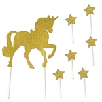 The Unicorn Cake Topper is made of gold glittered cardstock. Each package contains one unicorn that measures 7 3/4 in by 10 3/4 in. and 6 stars that measure 1 1/2 in by 3 1/2 in. Each package contains seven (7) pieces total.