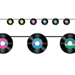 "The Records Streamer is made of cardstock and printed on one side. It consists of 6 45 records printed with vibrant colored centers with ""Rock & Rock"" and mini musical notes along the top. Measures 7 inches and 8 feet long. One per pack. Assembly required"