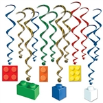Brighten up the room with Building Block Whirls!  Add color and excitement to a classroom or partyHang them from the ceiling or around the room and they'll transform your home or classroom into a fun house!