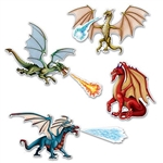 The Dragon Cutouts (7 per pkg) are made of cardstock and printed on two sides. Sizes range in measurement from 8.5 inches to 20.5 inches. Contains 7 pieces per package, including 4 dragons, 1 fire spray, 1 ice spray, and 1 water spray.