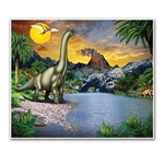 The Dinosaur Insta-Mural depicts a prehistoric landscape featuring dinosaurs and pterodactyl in their habitat, against a background of erupting volcano and sun illuminated sky. Printed on thin plastic and measures 5 feet by 6 feet. Hang on walls.